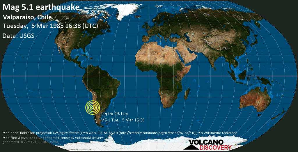 Moderate mag. 5.1 earthquake - 25 km south of San Antonio, Valparaiso, Chile, on Tuesday, 5 March 1985 at 16:38 (GMT)