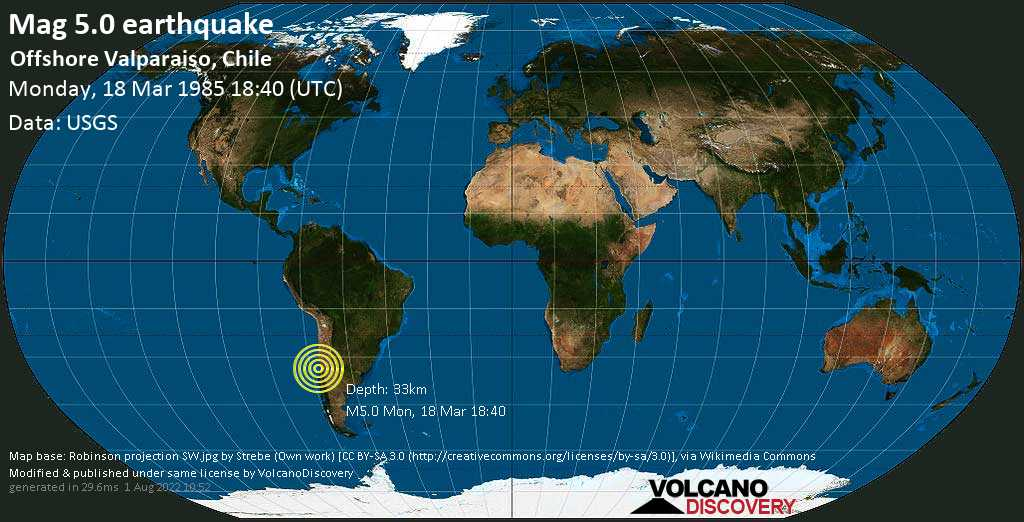 Moderate mag. 5.0 earthquake - South Pacific Ocean, 34 km northwest of San Antonio, Valparaiso, Chile, on Monday, 18 March 1985 at 18:40 (GMT)