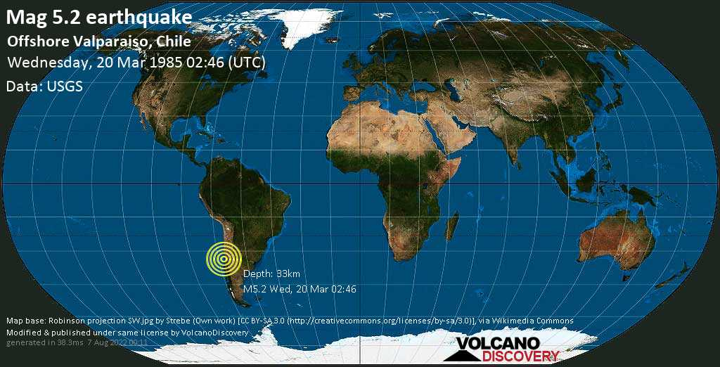 Moderate mag. 5.2 earthquake - South Pacific Ocean, 26 km northwest of San Antonio, Valparaiso, Chile, on Wednesday, 20 March 1985 at 02:46 (GMT)