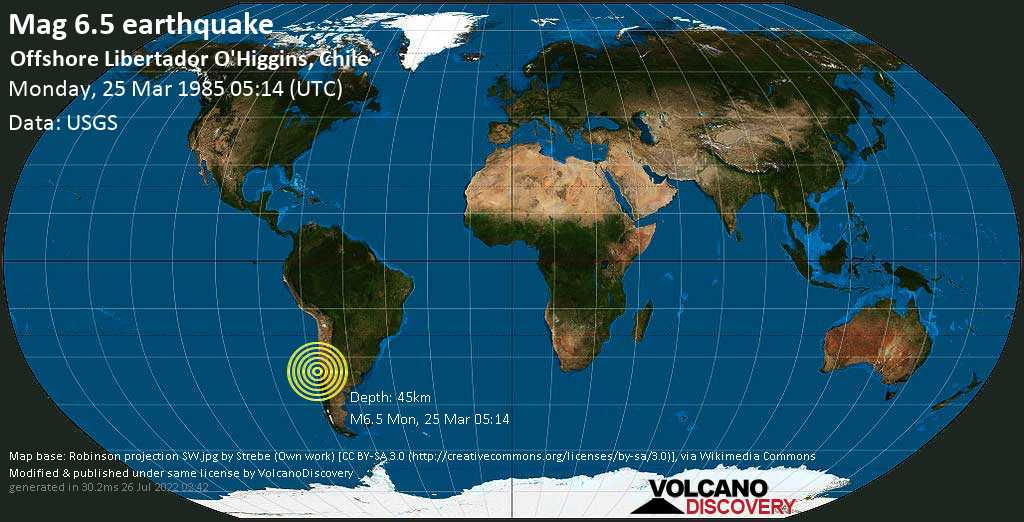 Very strong mag. 6.5 earthquake - South Pacific Ocean, 91 km southwest of San Antonio, Valparaiso, Chile, on Monday, 25 March 1985 at 05:14 (GMT)