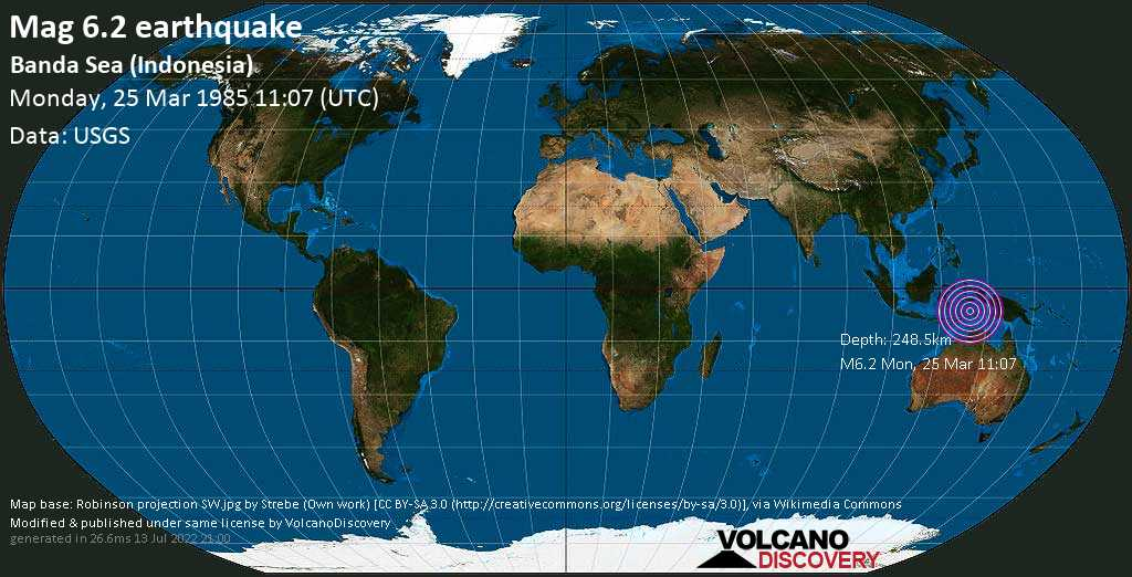 Strong mag. 6.2 earthquake  - Banda Sea (Indonesia) on Monday, 25 March 1985