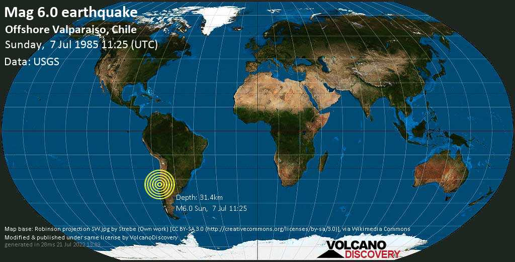 Strong mag. 6.0 earthquake - South Pacific Ocean, 60 km west of Quilpué, Provincia de Marga Marga, Valparaiso, Chile, on Sunday, 7 July 1985 at 11:25 (GMT)