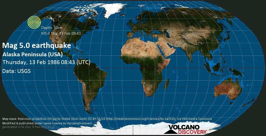Moderate mag. 5.0 earthquake - Gulf of Alaska, 20 mi west of Chernabura Island, Aleutians East County, Alaska, USA, on Thursday, 13 February 1986 at 08:43 (GMT)