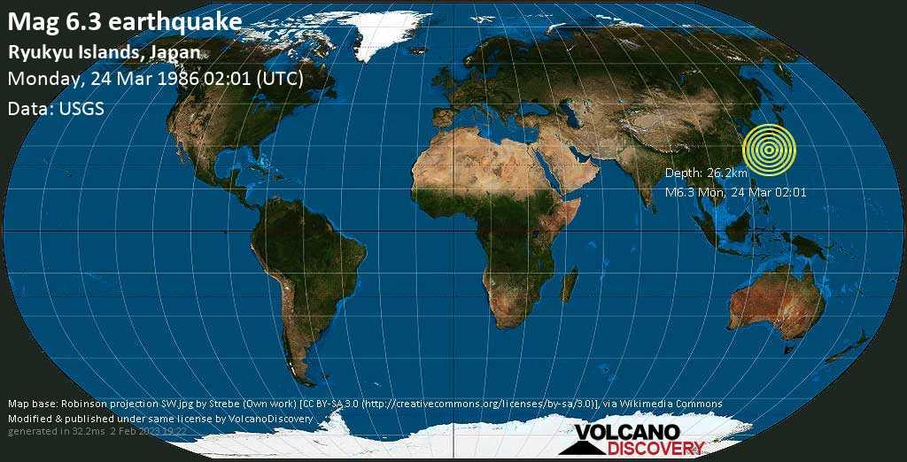 Sehr starkes Magnitude 6.3 Erdbeben - East China Sea, 55 km östlich von Naze, Amami Shi, Kagoshima, Japan, am Montag, 24. Mär 1986 um 02:01 GMT