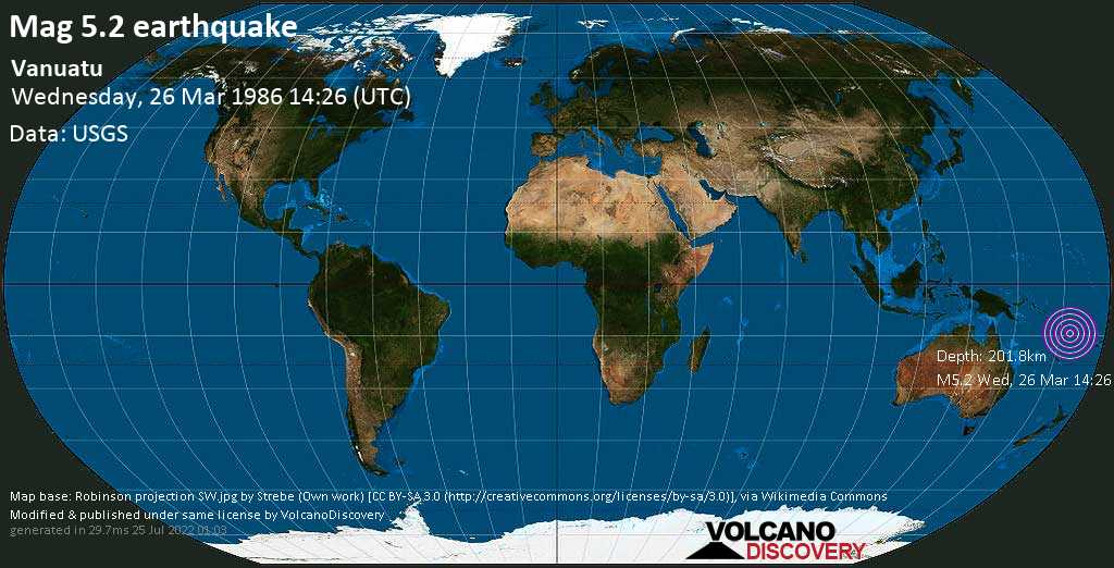 Moderate mag. 5.2 earthquake - Coral Sea, 51 km southwest of Sola, Torba, Vanuatu, on Wednesday, 26 March 1986 at 14:26 (GMT)