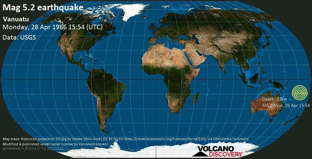 Moderate mag. 5.2 earthquake - Coral Sea, 28 km west of Ureparapara Island, Torba, Vanuatu, on Monday, 28 April 1986 at 15:54 (GMT)