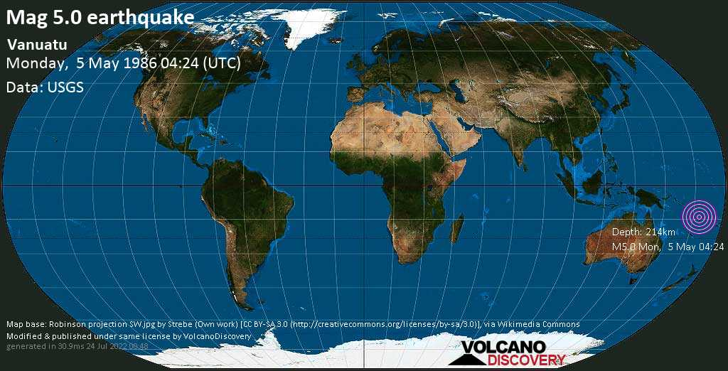 Moderate mag. 5.0 earthquake - Coral Sea, 46 km west of Sola, Torba, Vanuatu, on Monday, 5 May 1986 at 04:24 (GMT)
