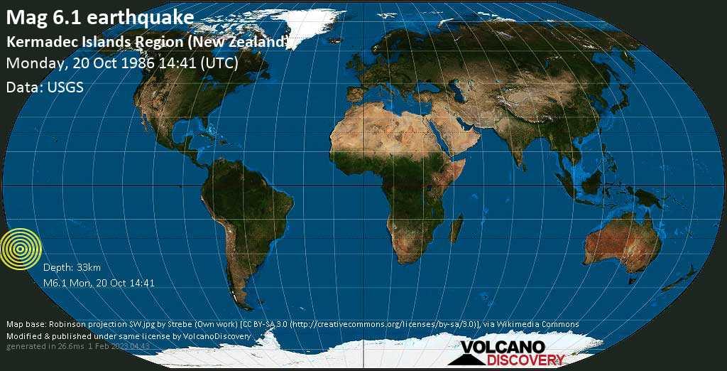 Fuerte terremoto magnitud 6.1 - Kermadec Islands Region (New Zealand), lunes, 20 oct. 1986
