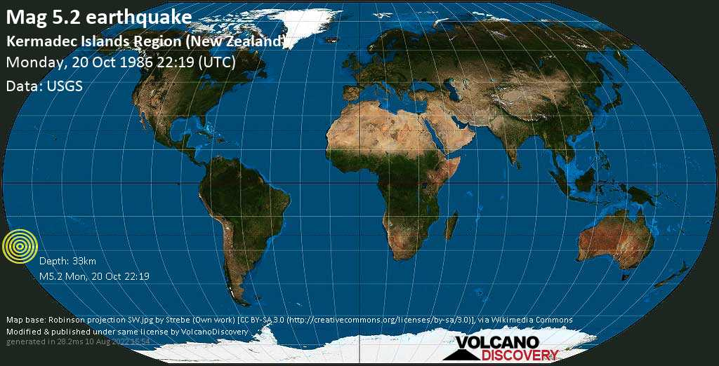 Moderate mag. 5.2 earthquake  - Kermadec Islands Region (New Zealand) on Monday, 20 October 1986 at 22:19 (GMT)