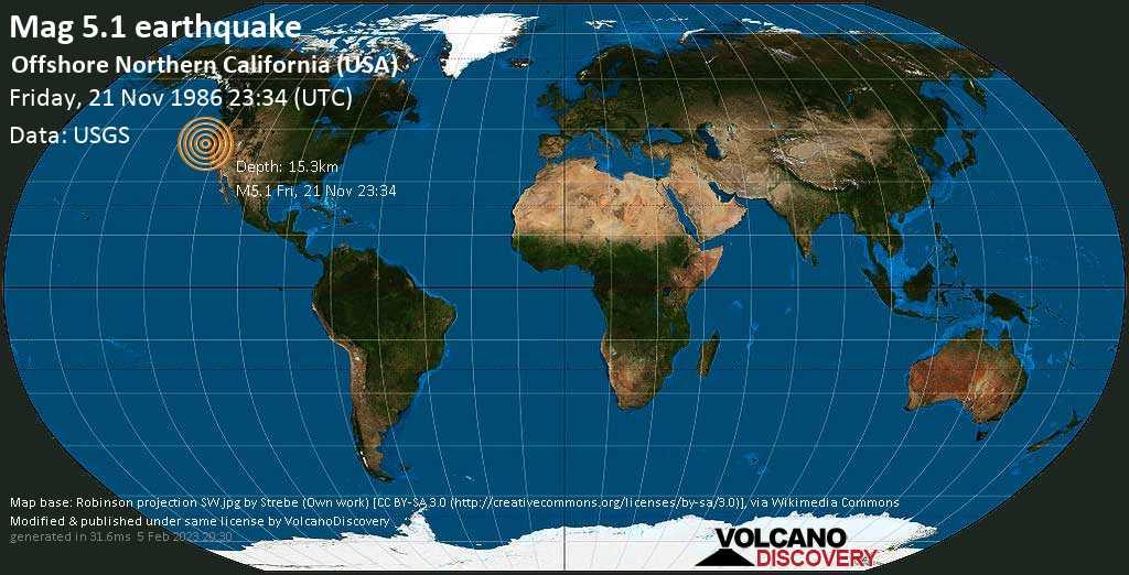 Strong mag. 5.1 earthquake - North Pacific Ocean, 33 mi south of Eureka, Humboldt County, California, USA, on Friday, 21 November 1986 at 23:34 (GMT)
