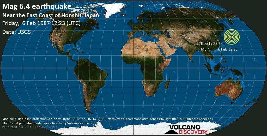 Strong mag. 6.4 earthquake  - Near the East Coast of Honshu, Japan on Friday, 6 February 1987