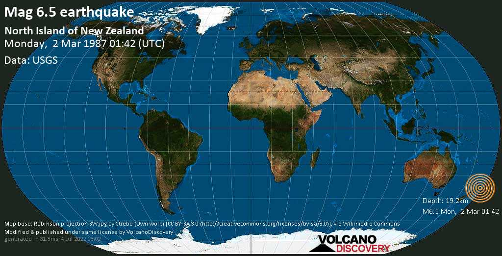 Very strong mag. 6.5 earthquake - Whakatane District, 61 km southeast of Tauranga, Bay of Plenty, New Zealand, on Monday, March 2, 1987 at 01:42 (GMT)