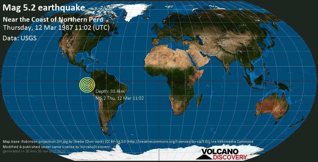 Moderate mag. 5.2 earthquake - South Pacific Ocean, 82 km north of Talara, Piura, Peru, on Thursday, 12 March 1987 at 11:02 (GMT)