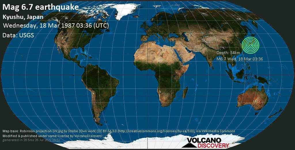 Strong mag. 6.7 earthquake  - Kyushu, Japan, on Wednesday, 18 March 1987 at 03:36 (GMT)