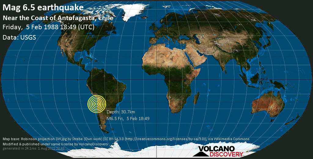 Strong mag. 6.5 earthquake  - Near the Coast of Antofagasta, Chile, on Friday, 5 February 1988 at 18:49 (GMT)