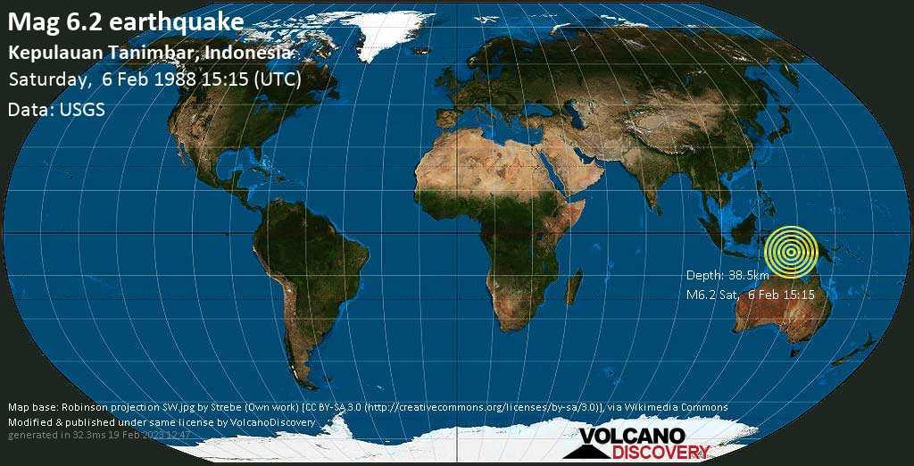Strong mag. 6.2 earthquake  - Kepulauan Tanimbar, Indonesia, on Saturday, 6 February 1988 at 15:15 (GMT)
