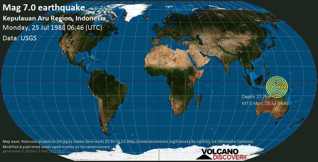 Major mag. 7.0 earthquake  - Kepulauan Aru Region, Indonesia on Monday, 25 July 1988