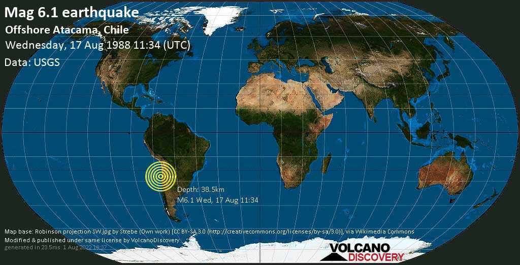 Strong mag. 6.1 earthquake  - Offshore Atacama, Chile on Wednesday, 17 August 1988