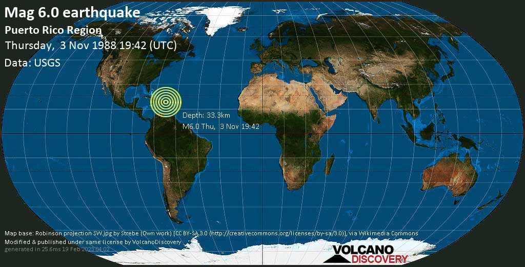 Strong mag. 6.0 earthquake - North Atlantic Ocean, 99 km north of Mayaguez, Puerto Rico, on Thursday, 3 November 1988 at 19:42 (GMT)