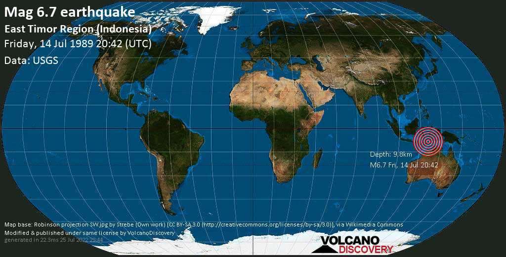 Strong mag. 6.7 earthquake  - East Timor Region (Indonesia) on Friday, 14 July 1989