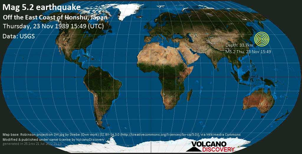 Moderate mag. 5.2 earthquake - North Pacific Ocean, 103 km east of Miyako, Iwate, Japan, on Thursday, 23 November 1989 at 15:49 (GMT)