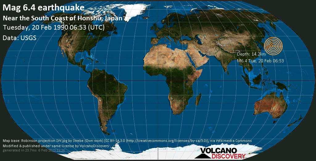 Strong mag. 6.4 earthquake  - Near the South Coast of Honshu, Japan on Tuesday, 20 February 1990