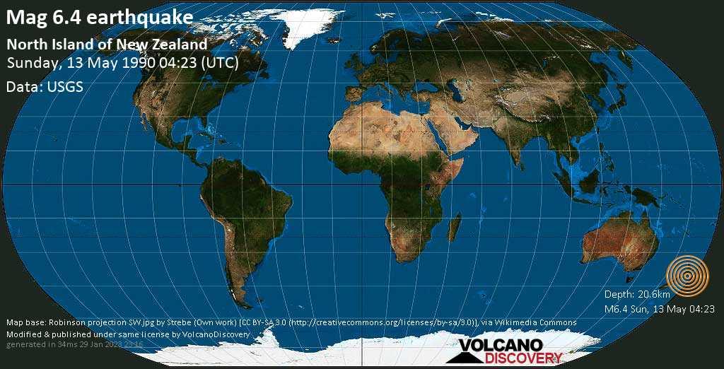 Very strong mag. 6.4 earthquake - 39 km east of Palmerston North, Manawatu-Wanganui, New Zealand, on Sunday, 13 May 1990 at 04:23 (GMT)