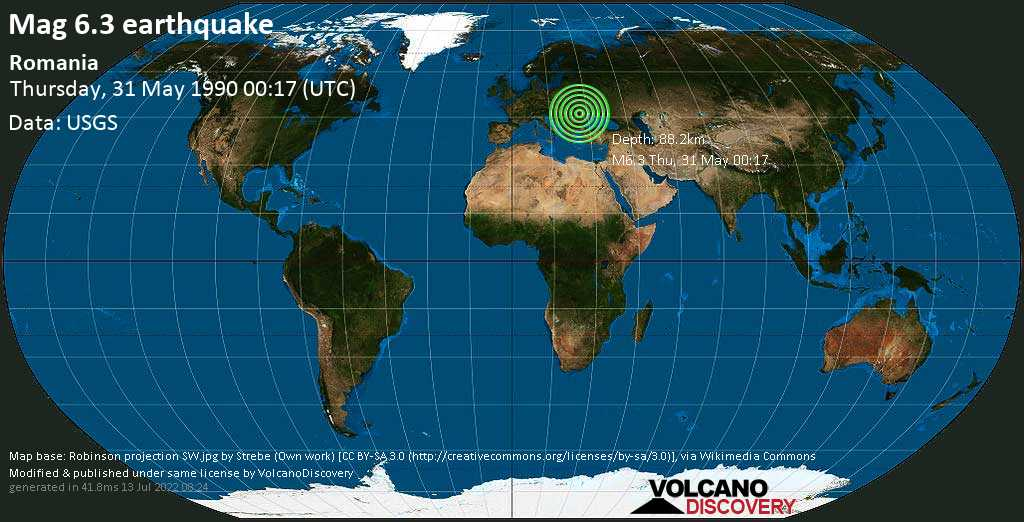 Strong mag. 6.3 earthquake  - Romania on Thursday, 31 May 1990 at 00:17 (GMT)