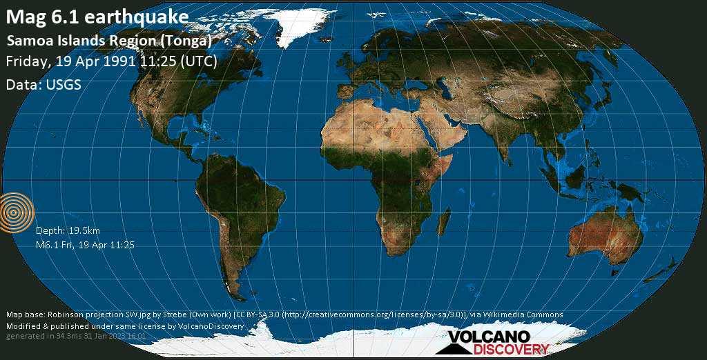 Strong mag. 6.1 earthquake  - Samoa Islands Region (Tonga) on Friday, 19 April 1991 at 11:25 (GMT)