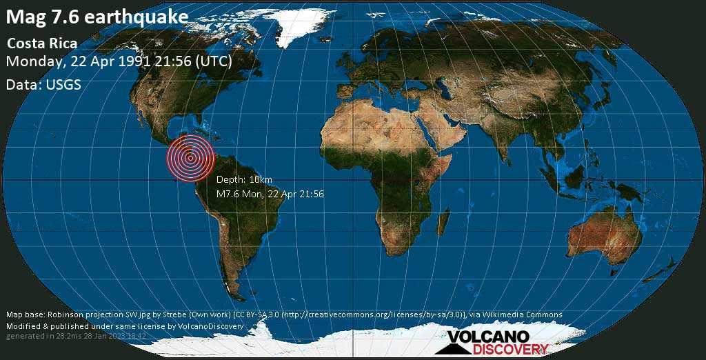 Major mag. 7.6 earthquake  - Costa Rica on Monday, 22 April 1991