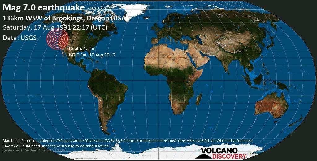 Major mag. 7.0 earthquake  - 136km WSW of Brookings, Oregon (USA) on Saturday, 17 August 1991