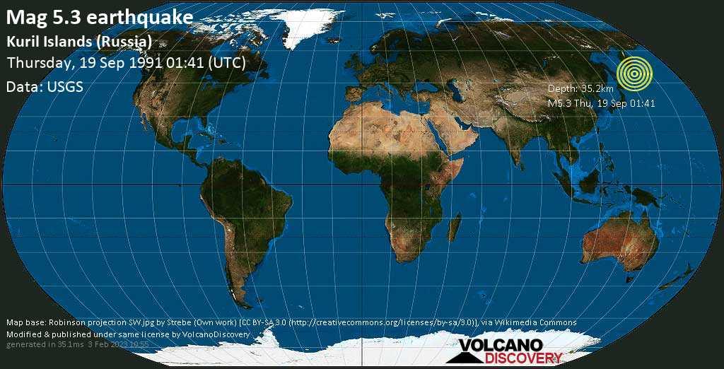 Terremoto moderato mag. 5.3 - North Pacific Ocean, 42 km a sud-est da Kharimkotan , Sakhalin Oblast, Russia, giovedí, 19 settembre 1991