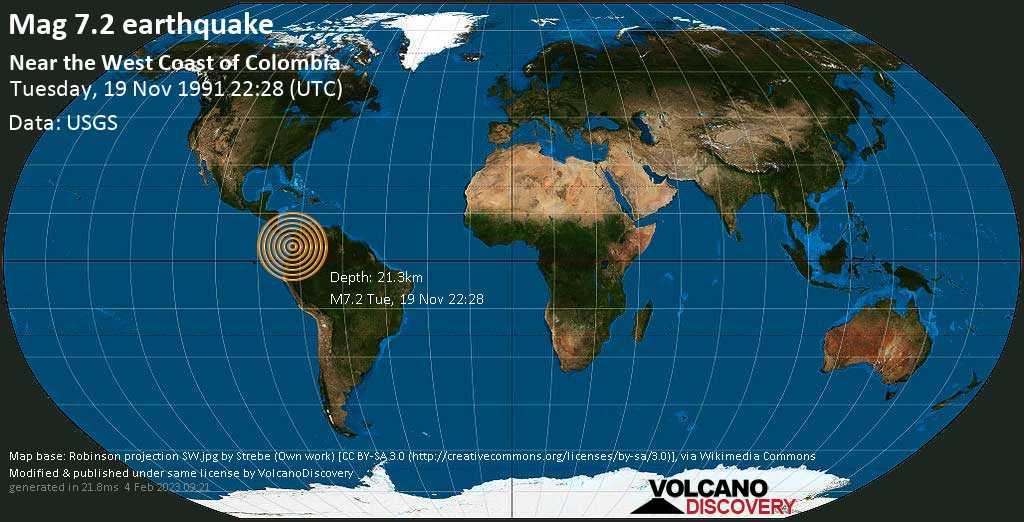 Major mag. 7.2 earthquake  - Near the West Coast of Colombia on Tuesday, 19 November 1991