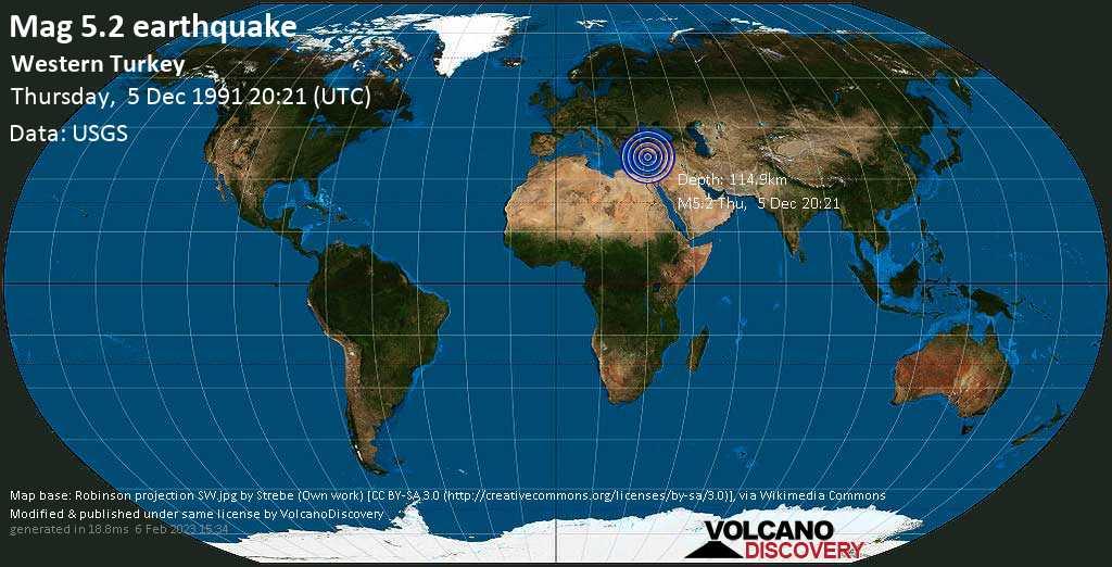 Moderate mag. 5.2 earthquake - Eastern Mediterranean, 49 km south of Alanya, Antalya, Turkey, on Thursday, December 5, 1991 at 20:21 (GMT)