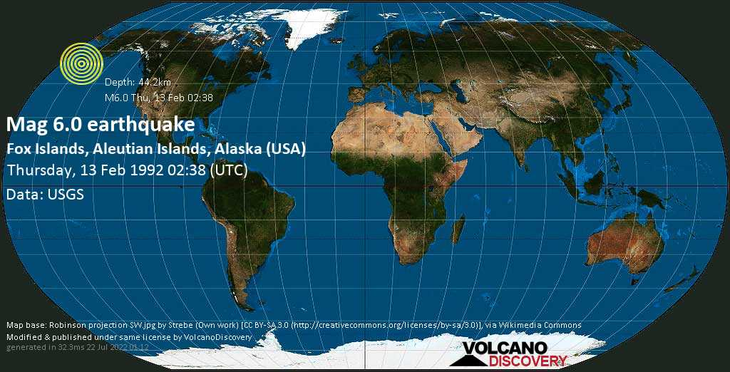 Strong mag. 6.0 earthquake - Bering Sea, 22 mi southeast of Egg Island, Aleutians West County, Alaska, USA, on Thursday, 13 February 1992 at 02:38 (GMT)