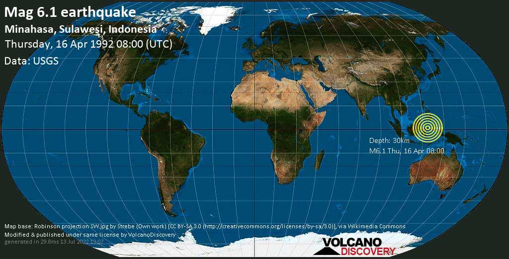 Strong mag. 6.1 earthquake  - Minahasa, Sulawesi, Indonesia, on Thursday, 16 April 1992 at 08:00 (GMT)