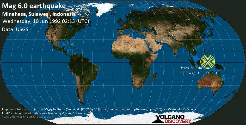 Strong mag. 6.0 earthquake  - Minahasa, Sulawesi, Indonesia, on Wednesday, 10 June 1992 at 02:13 (GMT)