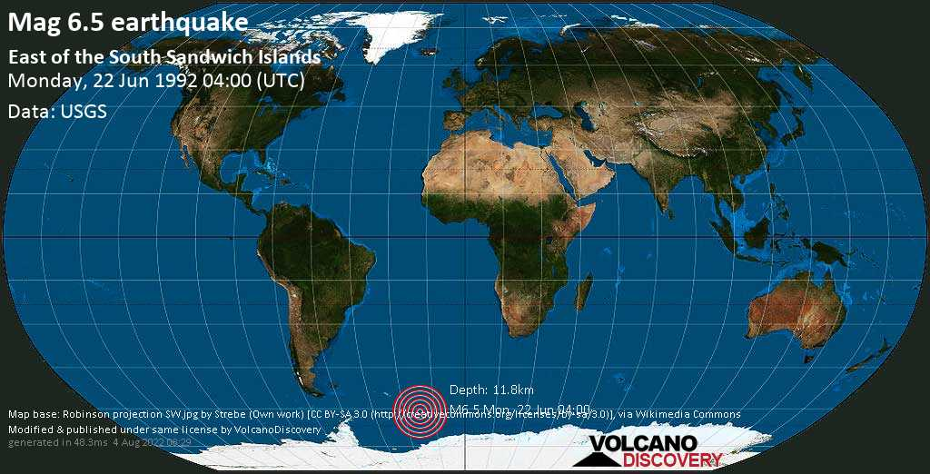 Strong mag. 6.5 earthquake  - East of the South Sandwich Islands on Monday, 22 June 1992 at 04:00 (GMT)