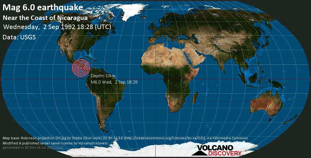 Strong mag. 6.0 earthquake  - Near the Coast of Nicaragua on Wednesday, 2 September 1992 at 18:28 (GMT)