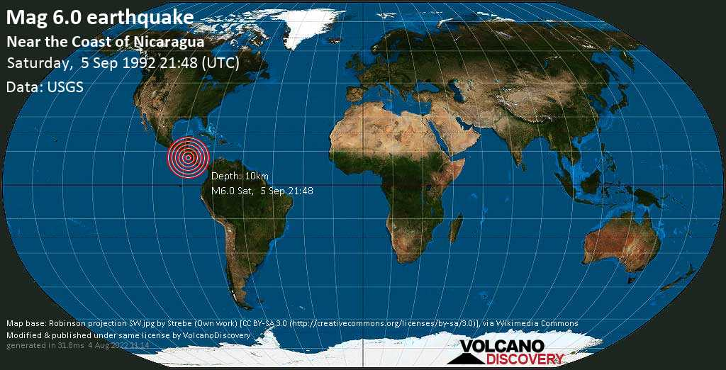 Strong mag. 6.0 earthquake  - Near the Coast of Nicaragua on Saturday, 5 September 1992 at 21:48 (GMT)