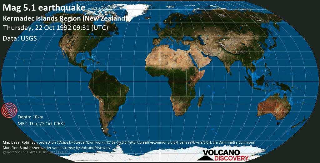 Moderado terremoto magnitud 5.1 - Kermadec Islands Region (New Zealand), jueves, 22 oct. 1992