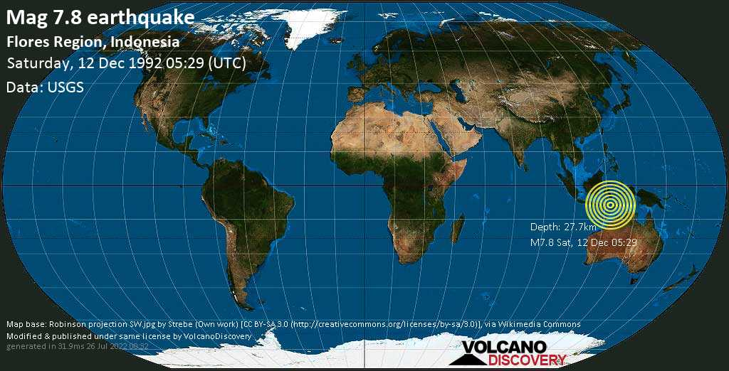 Major mag. 7.8 earthquake  - Flores Region, Indonesia, on Saturday, 12 December 1992 at 05:29 (GMT)