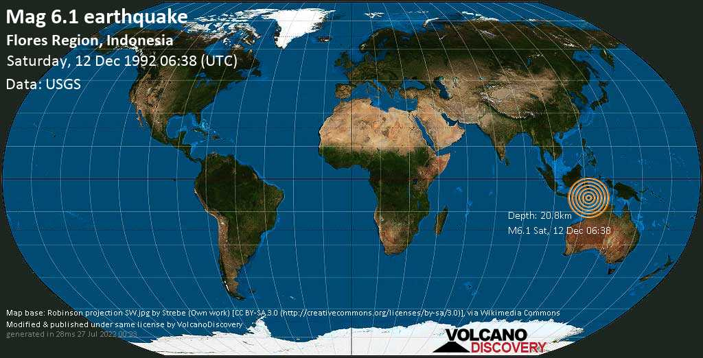 Very strong mag. 6.1 earthquake - 33 km west of Maumere, East Nusa Tenggara, Indonesia, on Saturday, 12 December 1992 at 06:38 (GMT)