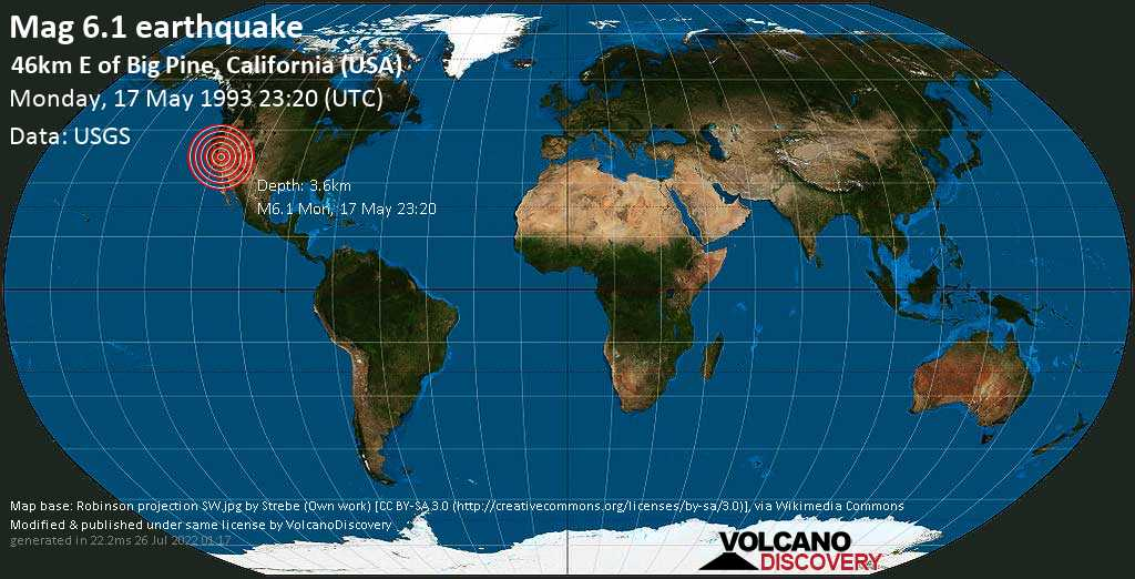 Very strong mag. 6.1 earthquake - Inyo County, 102 mi northeast of Visalia, Tulare County, California, USA, on Monday, May 17, 1993 at 23:20 (GMT)