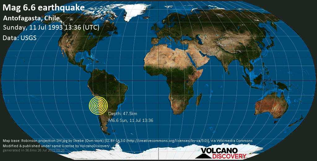 Strong mag. 6.6 earthquake  - Antofagasta, Chile, on Sunday, 11 July 1993 at 13:36 (GMT)