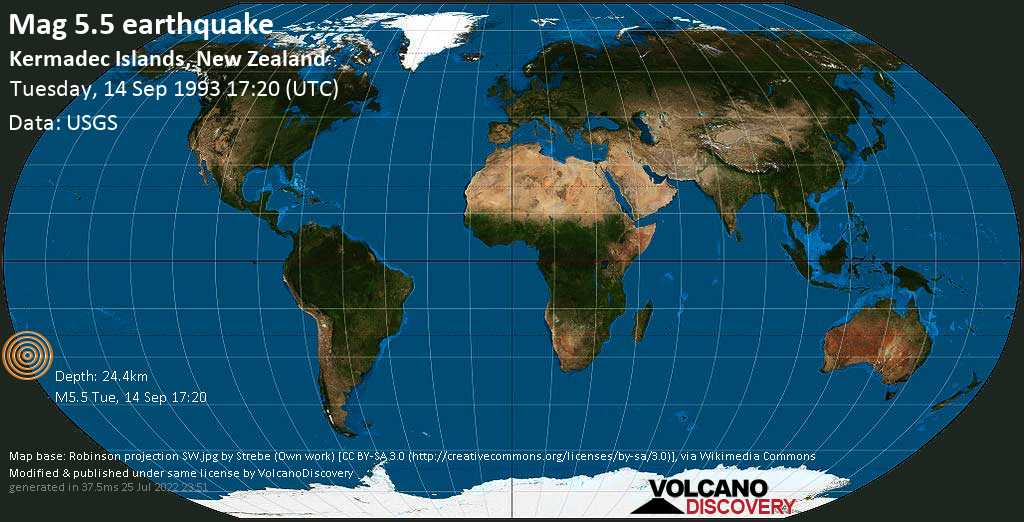 Moderate mag. 5.5 earthquake  - Kermadec Islands, New Zealand, on Tuesday, 14 September 1993 at 17:20 (GMT)