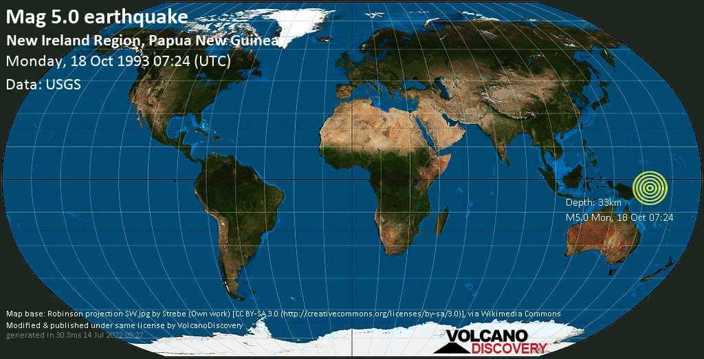 Moderate mag. 5.0 earthquake - South Pacific Ocean, 71 km northeast of Kokopo, Papua New Guinea, on Monday, 18 October 1993 at 07:24 (GMT)
