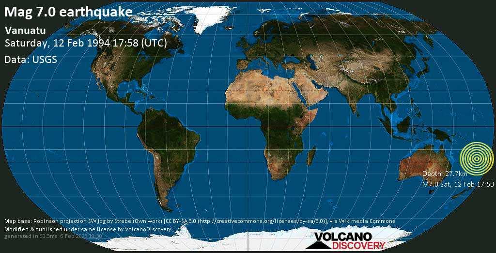 Major mag. 7.0 earthquake  - Vanuatu on Saturday, 12 February 1994