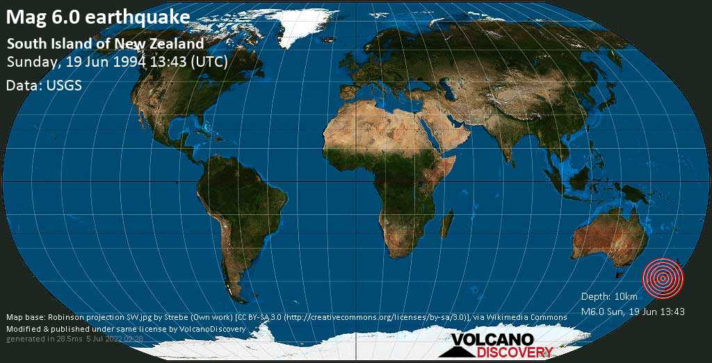 Very strong mag. 6.0 earthquake - Selwyn District, 88 km west of Christchurch, Canterbury, New Zealand, on Sunday, June 19, 1994 at 13:43 (GMT)