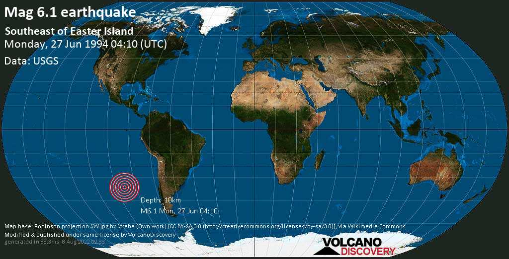 Strong mag. 6.1 earthquake  - Southeast of Easter Island on Monday, 27 June 1994